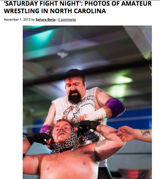 For Feature Shoot, Aaron Canipe: http://www.featureshoot.com/2013/11/saturday-fight-night-photos-of-amateur-wrestling-in-north-carolina/