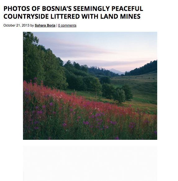 For Feature Shoot, Brett Van Ort: http://www.featureshoot.com/2013/10/photos-of-bosnias-seemingly-peaceful-countryside-littered-with-land-mines/